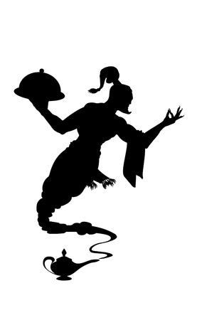Kellner hilfreiche Silhouette eines schwarzen Genies aus der arabischen Lampe. Detaillierte Kontur schwarz. Isolierte Vektorgrafik.
