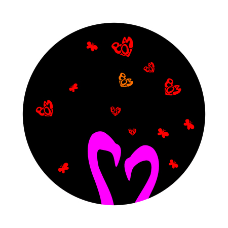 Pink cute two silhouettes flamingos in love is.  illustration of cartoon isolated on dark sky. Small Red hearts on Valentines day and Butterflies.