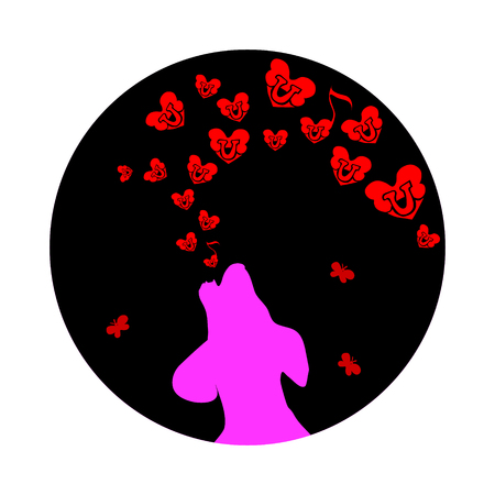 Pink dog was howling to the moon, a small Red heart. Illustration of love and song of the bones on Valentine s Day.