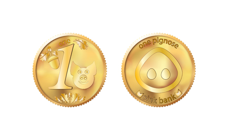 Golden coin one pig nose. Heads and tails for decoration and design. New year 2019 oink bank with the image piglet. Vector illustration in concept of save money or open a bank deposit. Ilustração