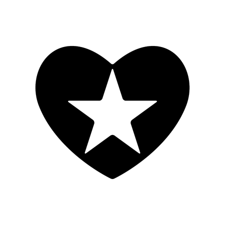 Shooting star in black heart. Valentines day abstract object design.