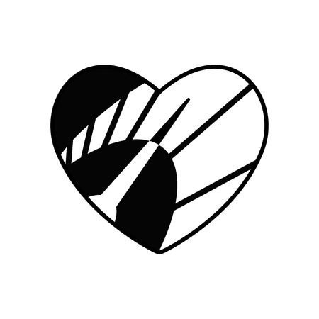 Speedometer in heart icon. Black symbol Love and speed. Valentines day sign, emblem