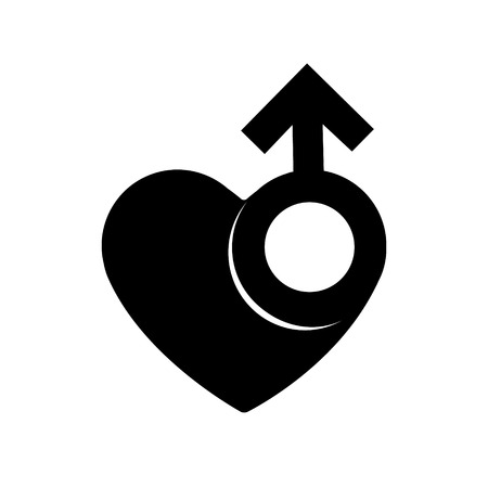 Gender men signs in black heart icon. A symbol of love. Valentines Day. 向量圖像