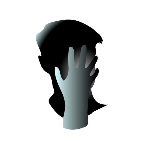 Close-up of his hand closed his men face. Head hurts and It may be because of regret or anxiety and stress. Vector art drawing illustration.