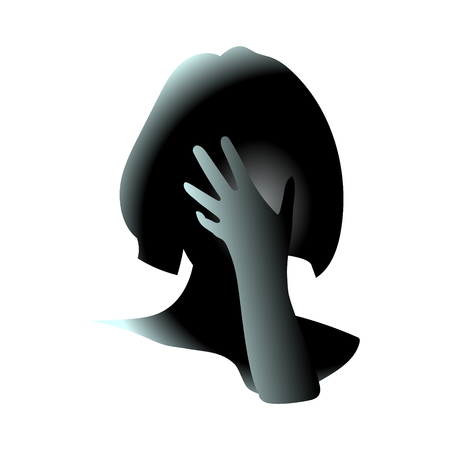 Close-up of her hand covered female face. Girl closed face. Head hurts and It may be because of regret or anxiety and stress. Vector art drawing illustration.
