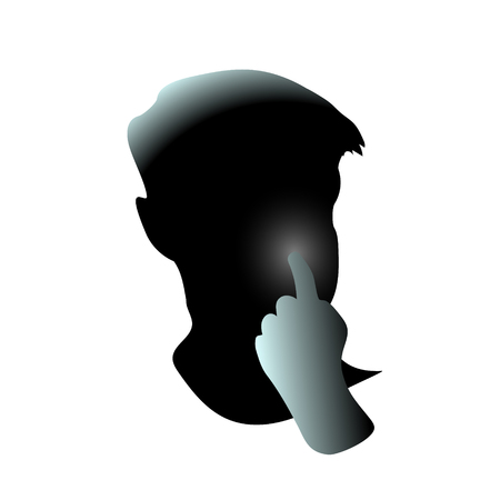 Close-up, hand pick his nose men face. Guy clean hole or picking. Head filled and It may be because of flu virus or behavior adult allergy sick. Vector art drawing illustration disgusting thing. Stock Illustratie