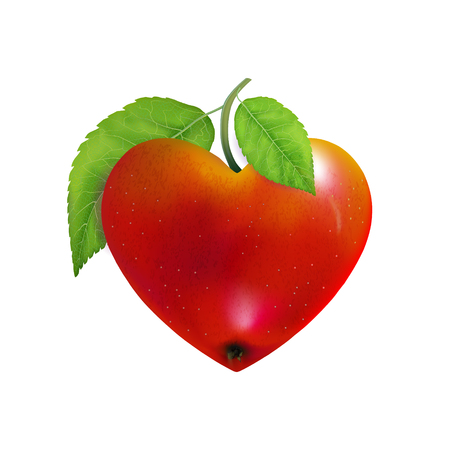 Red apple heart isolated. Modern Valentines love sign. Beautiful fresh fruit. Vector illustration for advertising, packaging, banner, wallpaper. Trendy vector hart shape, symbol for web site design.