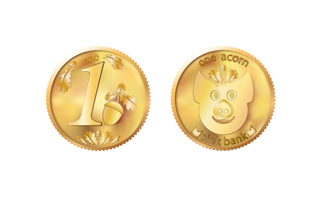 Golden coin one acorn. Heads and tails for decoration and design. New year 2019 oink bank with the image piglet. Vector illustration in concept of save money or open a bank deposit.