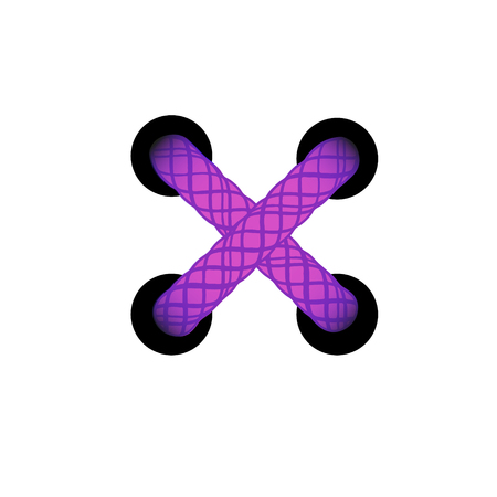 Template lace-up purple cross. Lacing scheme, corset with tied. Vector illustration.