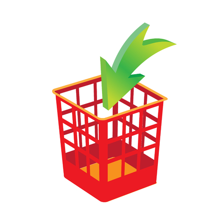 Plastic basket red, trash bins isolated. Motley garbage can, dustbin vector illustration.