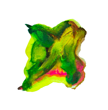 Composition of smears green and red watercolor, brushstroke of paint as sample of art product, isolated. For design and decoration. Banque d'images