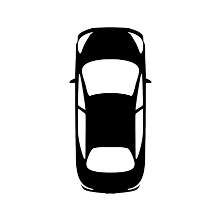Big black car top view icon. Sport car, sedan, small mini avto and city automobile. Vector illustration. Иллюстрация