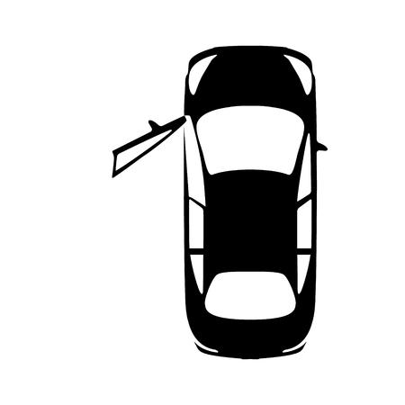 Big black car with open door, top view icon. Sport car, sedan, small mini avto and city automobile. Vector illustration. Vector Illustratie