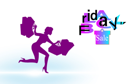 The girl with the packages runs with Black friday background sale for banner, background. Backdrop vector illustration. EPS 10.