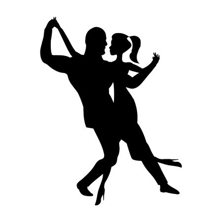 Man and girl dance silhouette, music dancing a sensual social dances. The black and white image isolated. Vector illustration 矢量图像