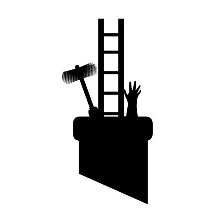 Silhouette chimney sweep in pipe with tools, got to work and got stuck. Vector illustration for designers. 向量圖像