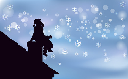 Artwork background Happy Christmas, Santa Claus is a black silhouette sitting on chimney, enjoyed night snowfall. The view from the roof vector illustration. Illustration