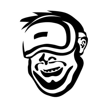 Cheerful man in the glasses of virtual reality. Cybersport, VR emblem. Gamer illustration vector head. Illustration