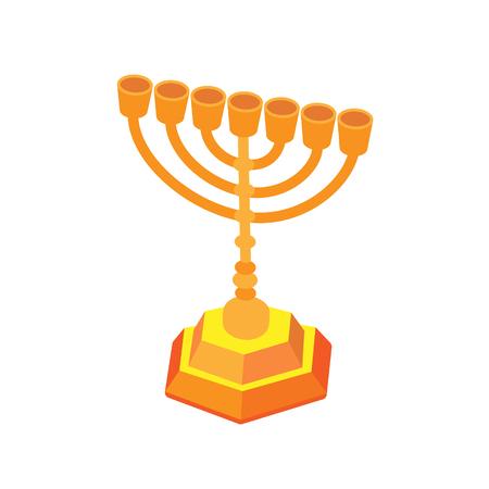 Golden hanukkah or menorah. Isometric flat vector illustration, isolated.