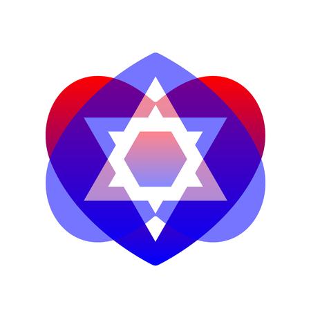 Sacred vector symbol star of david in heart. Shield of david. Magen illustration, icon. Illustration