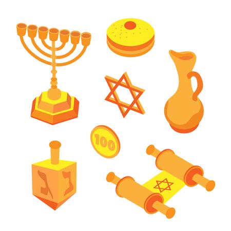 Isometric flat hanukkah set, jewish holidays icons with menorah candles and happy hanukkah ribbon. Illustration of elements for hanukkah in vector.