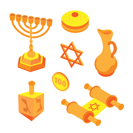 Isometric flat hanukkah set, jewish holidays icons with menorah candles and happy hanukkah ribbon. Illustration of elements for hanukkah in vector.