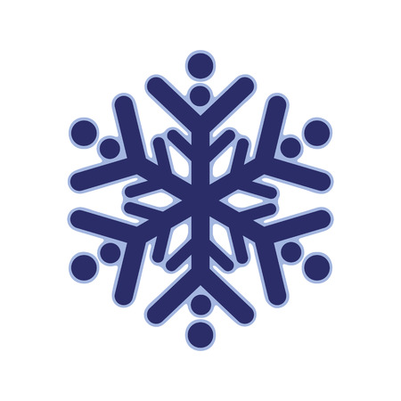 Blue rounded snowflake silhouette template icon. Trendy shapes composition. New year winter Icon Eps10 vector illustration.