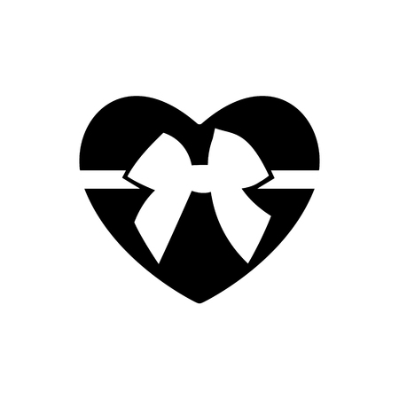 Decorative white bow with horizontal ribbon isolated on Black heart for Valentine s Day icon. Vector. Symbol love.