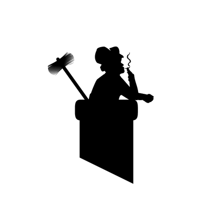 Male silhouette with tools chimney sweep in pipe, got to work and got smoking. Vector illustration for designers.