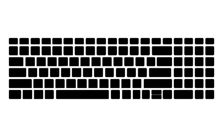 Keyboard black silhouette pattern, template. Computer vector Isolated. Black version. Top View. 矢量图像