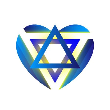Sacred symbol star of david in heart. Shield of david. Magen illustration, vector icon. Illustration