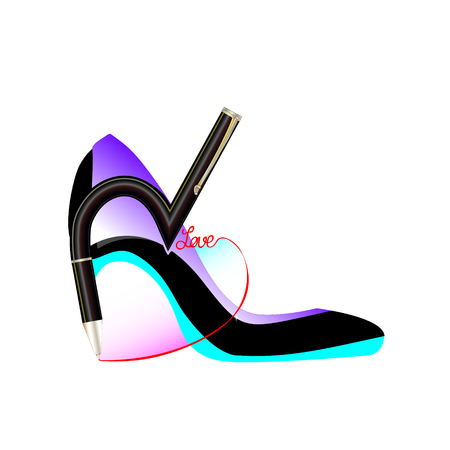 Business party, lbiz women. Shoe abstract girl with pen writing of a word love. Isolated vector, infographic and social media illustration for Web, Mobile Applications. Celebrate successful work