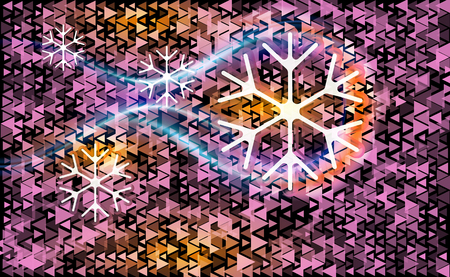 Pink different triangle on a dark abstract background with white and violet snowflakes. Christmas vector backdrop. Card or invitation decoration and design illustration.