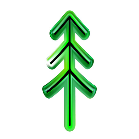 Christmas tree of green, Happy New Year from plastic. Toy and decorative element for design as part glass. Vector illustration. EPS 10