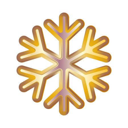 Golden snowflake. Volumetric moderate lighting on a dark background. Kit. Vector illustration.