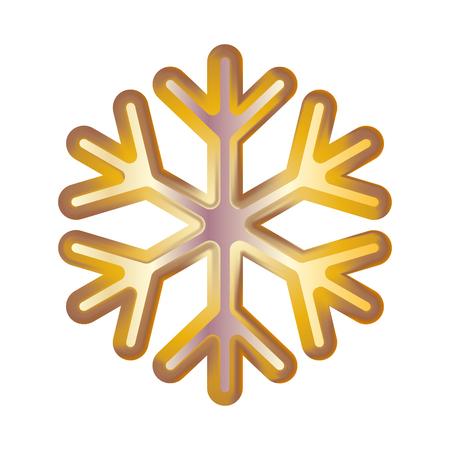 Golden snowflake. Volumetric moderate lighting on a dark background. Kit. Vector illustration.