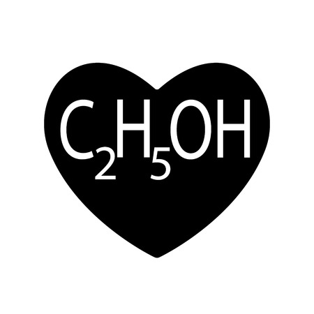Ethanol or alcohol, ethyl is found in black heart for Valentines day, beverages produced by the fermentation of sugars by yeasts. Vector symbol love. Neurotoxic, psychoactive can cause intoxication.
