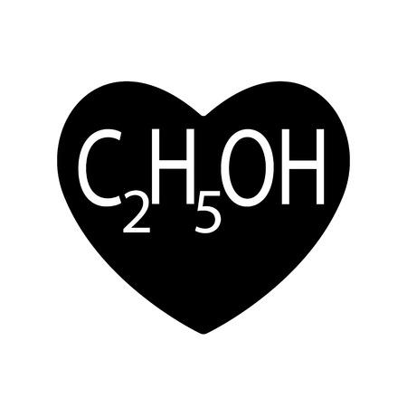 L'éthanol ou l'alcool, l'éthyle se trouve dans le cœur noir pour la Saint-Valentin, boissons produites par la fermentation des sucres par les levures. Amour de symbole de vecteur. Neurotoxique, psychoactif peut provoquer une intoxication.
