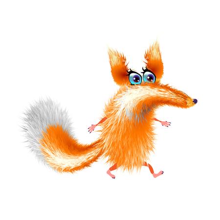 Fluffy cute fox cartoon on light background. Orange cute, isolated. Vector illustration and funny EPS 10 Illustration