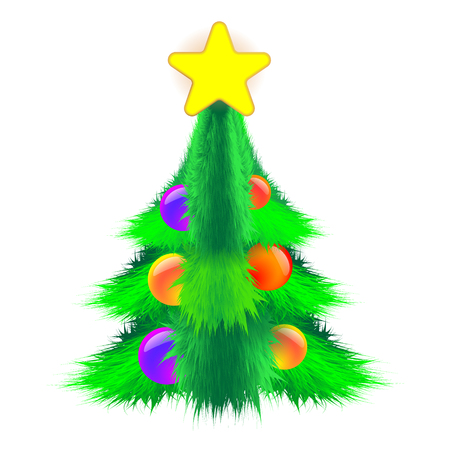 Bushy Christmas tree decorated with balls and a star on light background. Fluffy vector illustration EPS 10 Illustration