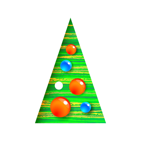 Decorated Christmas tree with balls, modern, interesting design. It can be used for printed materials, posters, business cards or for web. EPS 10