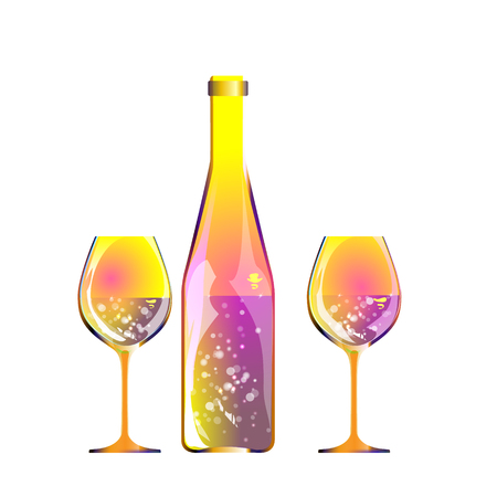 Glasses of champagne and motley bottle by bright content on light background with bokeh effect. Vector abstract for wine list, menu, flyer, party, alcohol drinks, celebration, holiday illustration. Archivio Fotografico - 126836866
