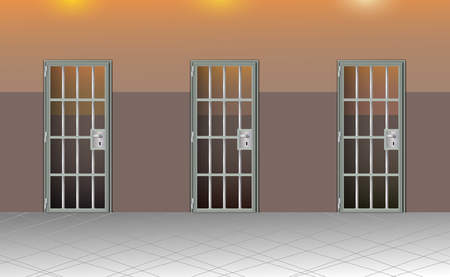 Background prison interior. Jail cells modern with gray doors. Behind bars In jail, dark. Vector detailed illustration.