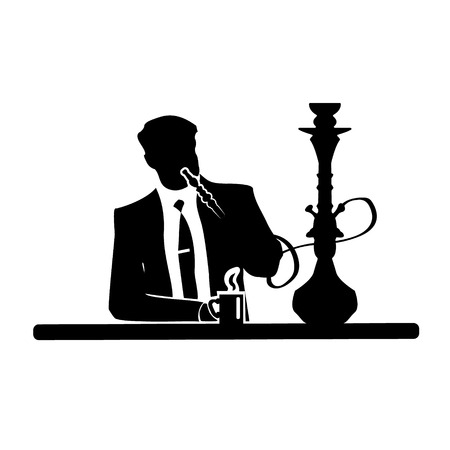 Businessman silhouette of a man in a suit and tie resting in a comfortable armchair with oriental hookah. Vector illustration. Relaxed cartoon in relaxation or leisure theme design.