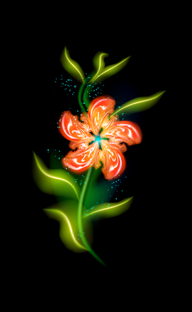 Red flower modern glowing. Colorful ornamental floral element in black background. Beautiful trendy illuminated ornaments with decorative luxury glow for your design in vector illustration EPS 10
