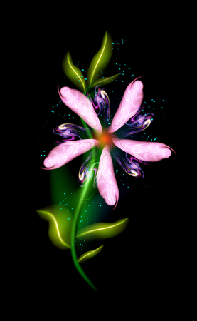 Pink glowing flower modern. Colorful ornamental floral element in black background. Beautiful trendy illuminated ornaments with decorative luxury glow for your design in vector illustration. eps 10