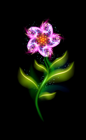 Pink glowing flower modern. Colorful ornamental floral element in black background. Beautiful trendy illuminated ornaments with decorative luxury glow for your design in vector illustration.