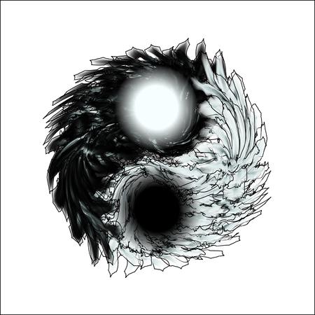 Le yin et le yang. Mandala de plumes sur l'isolement. Conception pour la relaxation spirituelle pour les adultes. Illustration en noir et blanc à colorier. Doodle pour flyers, chemises et textiles