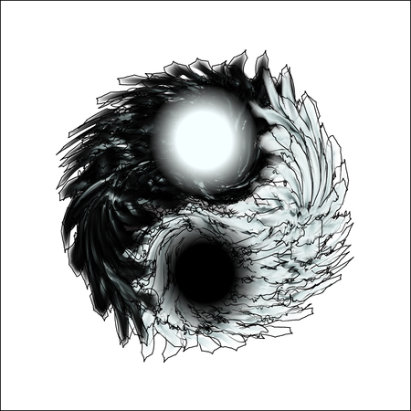 Yin and Yang. Feathery mandala on isolation. Design for spiritual relaxation for adults. Black and white illustration for coloring. Doodle for flyers, shirts and textiles