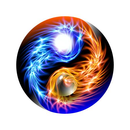 Concept cosmique bleu et rouge rougeoyant moderne mandala Yin et Yang. Relaxation spirituelle ornementale colorée. Beaux ornements illuminés avec une lueur de luxe décorative pour le design. Illustration vectorielle. Vecteurs